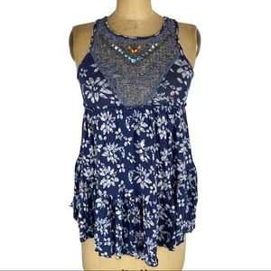 Free People Floral Tank with Crochet & Beading